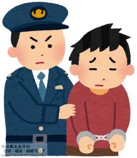 男性 逮捕 手錠 警察官