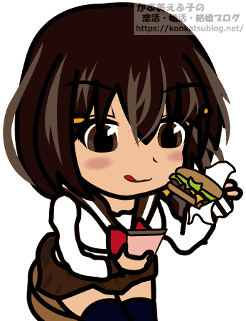 スマホを見ながらハンバーガーを食べる女子高生 中学生 女の子