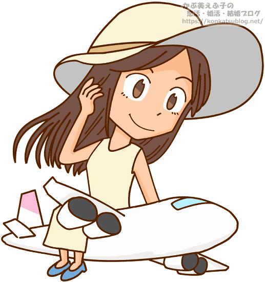 飛行機の上に乗る女性 女の子