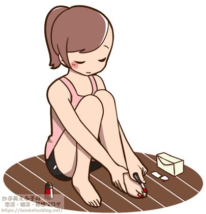 女性 女の子 フットネイル ペディキュア